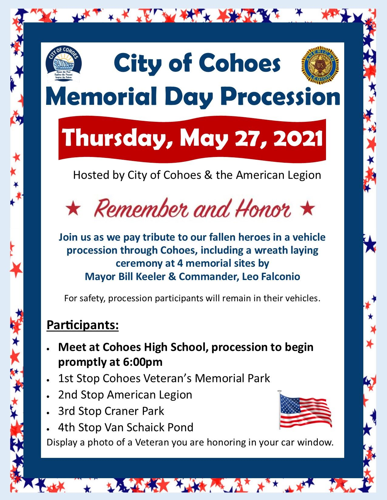 Memorial Day procession flyer 2021